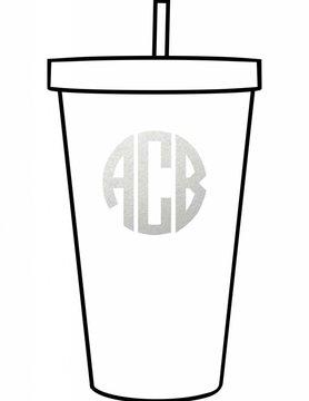 Custom Acrylic Tumbler-Circle Monogram
