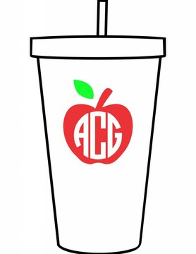 Custom Acrylic Tumbler-ACR114-Apple Monogram
