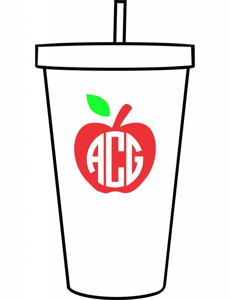 Custom Acrylic Tumbler-ACR114-Apple Monogram