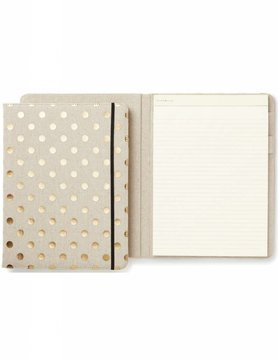 Kate Spade Notepad Folio, Linen and Gold Dot