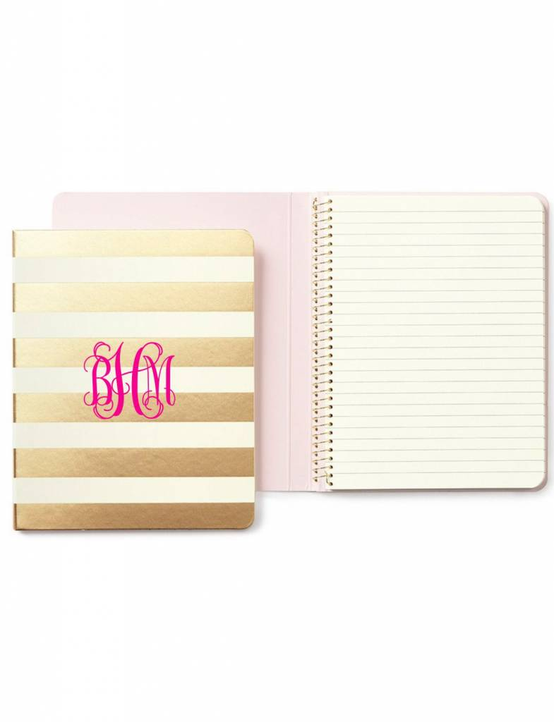 Kate Spade Concealed Spiral Notebook, Gold Stripe
