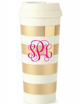 Kate Spade Thermal Mug, Gold Stripe