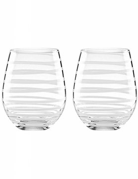 Kate Spade Charlotte Street White Stemless Wine Glasses (Set of 2)