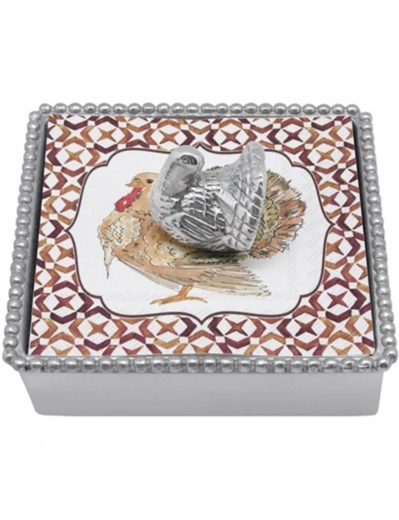 1282-C Turkey Beaded Napkin Box