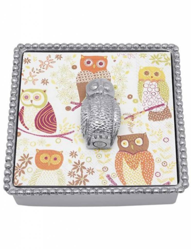 1513-C Owl Beaded Napkin Box