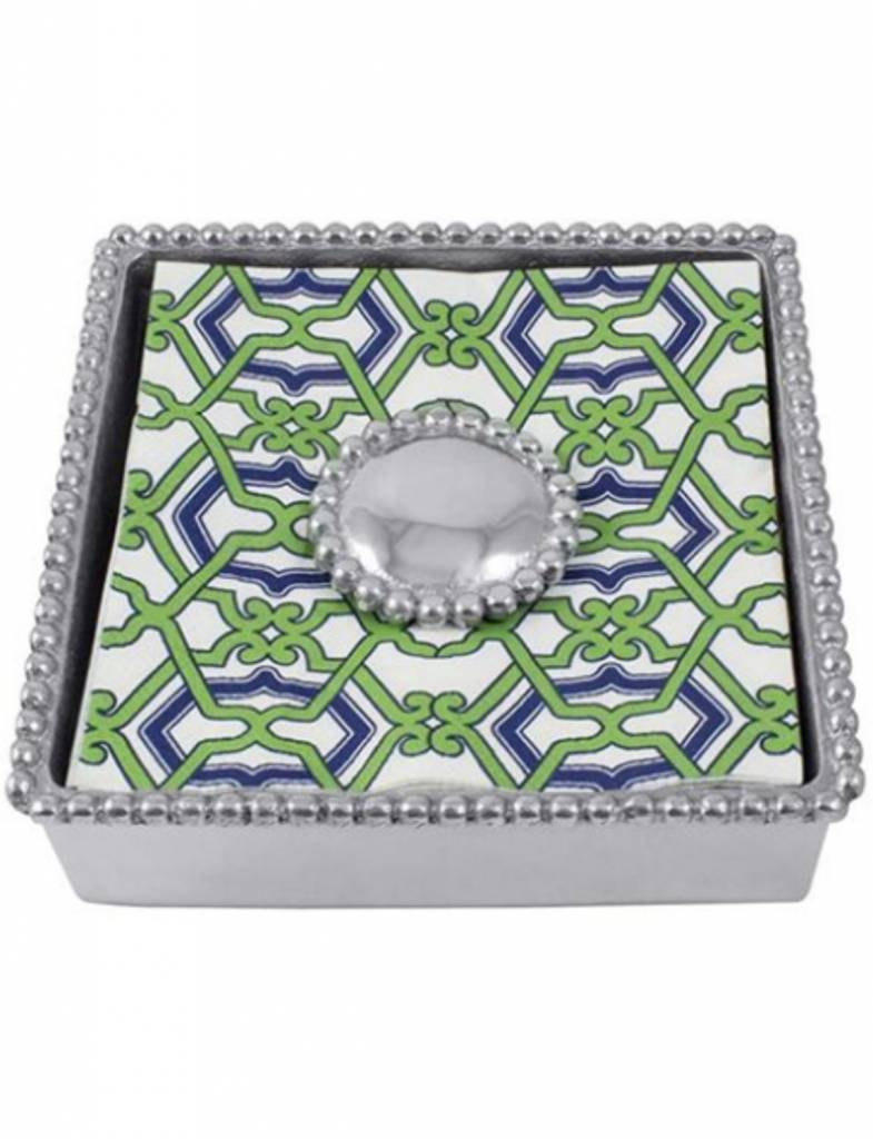 2240-C Jacki Pearled Beaded Napkin Box