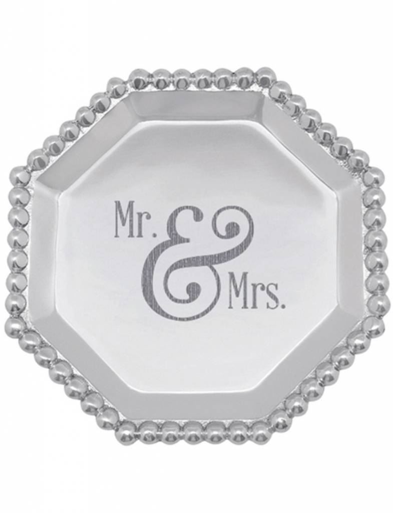 """2331MR """"Mr. & Mrs."""" Pearled Octagonal Canape Plate"""