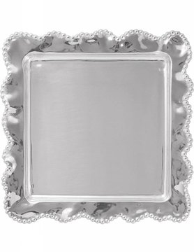 2719 Pearled Wavy Square Platter