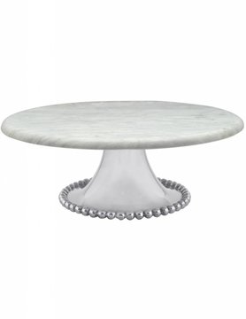5141 Pearled Large Marble Cake Stand