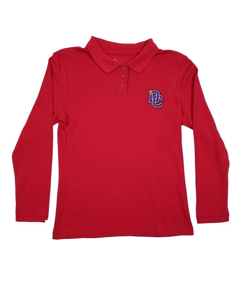 Classroom Uniforms DAYTON CHRISTIAN GIRL LS POLO SHIRT -  RED