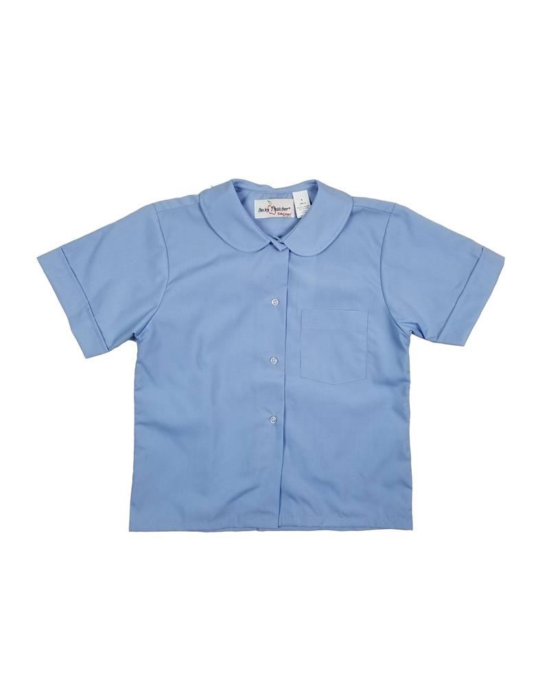 Elder Manufacturing Co. Inc. GIRLS/LADIES SS LT BLUE ROUND COLLAR BLOUSE