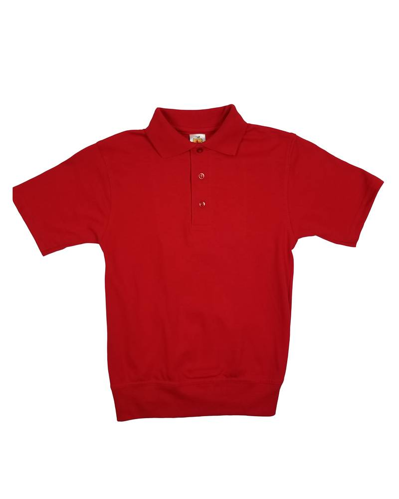 School Apparel, Inc. SHORT SLEEVE BANDED BOTTOM POLO RED