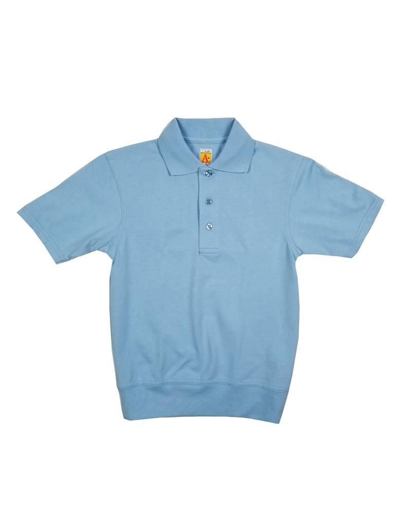 School Apparel, Inc. SHORT SLEEVE BANDED BOTTOM POLO LT BLUE