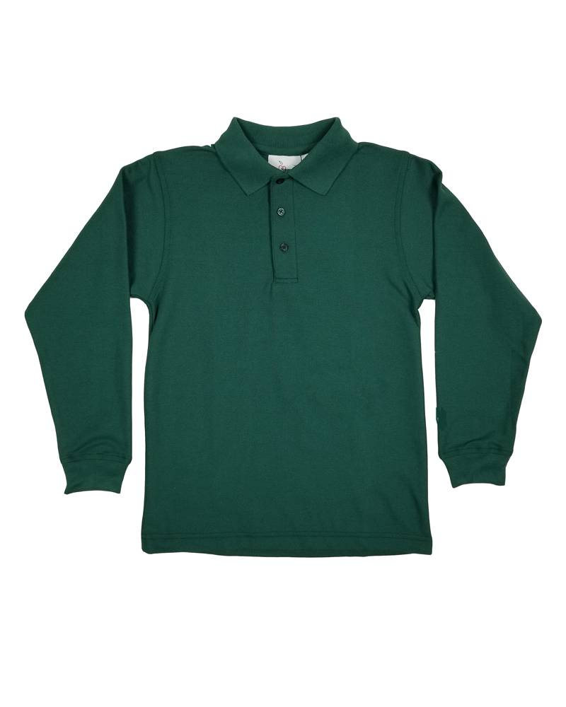 Elder Manufacturing Co. Inc. LONG SLEEVE PIQUE KNIT SHIRT GREEN