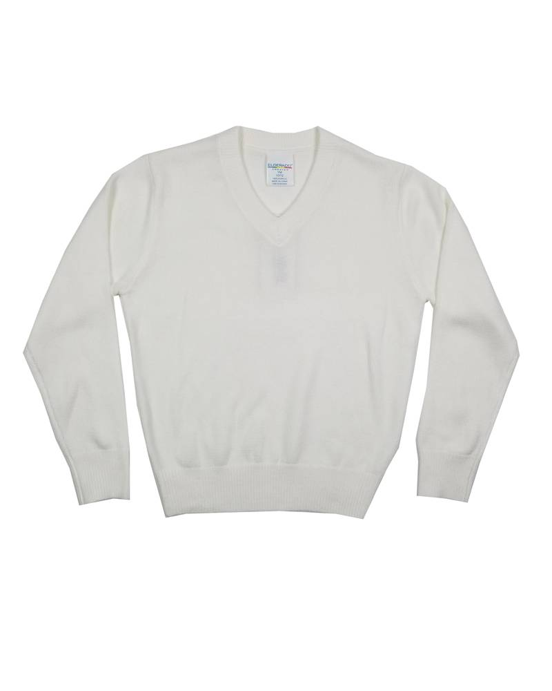 Elder Manufacturing Co. Inc. V/NECK PULLOVER SWEATER WHITE