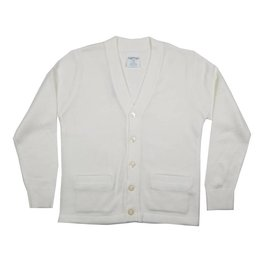 Elder Manufacturing Co. Inc. V-NECK CARDIGAN W/ POCKET WHITE