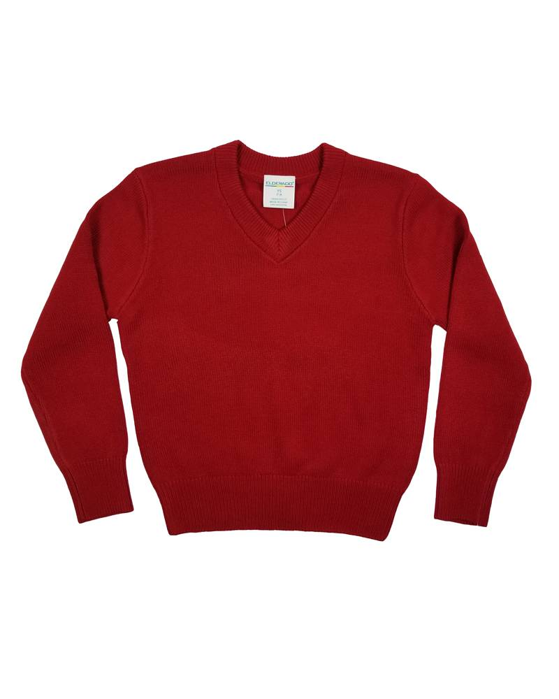 Elder Manufacturing Co. Inc. V/NECK PULLOVER SWEATER RED B