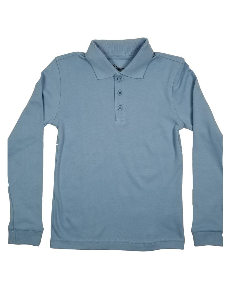 Classroom Uniforms CLASSROOM LONG SLEEVE POLO LT BLUE C