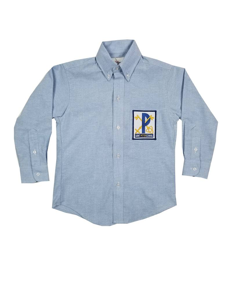 Elder Manufacturing Co. Inc. ST PETER BOYS/MENS LS LT BLUE OXFORD SHIRT