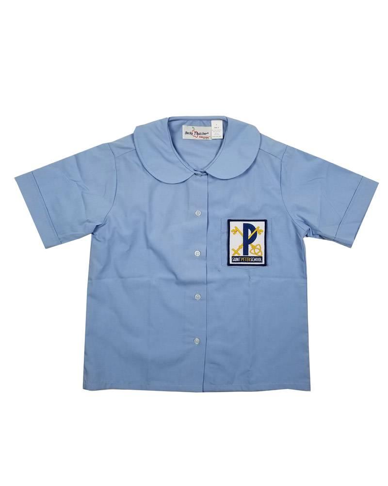 Elder Manufacturing Co. Inc. ST PETER GIRLS/LADIES SS LT BLUE ROUND COLLAR BLOUSE