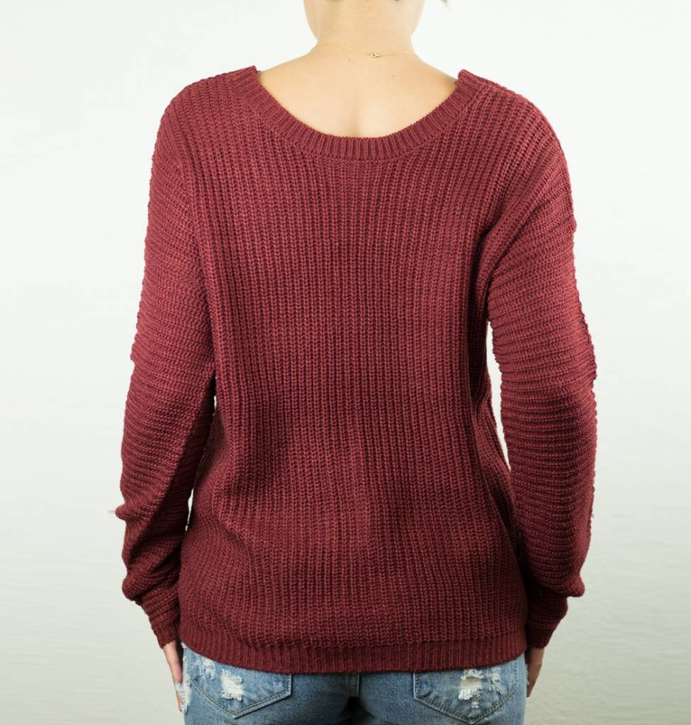 Angie Open Back Pullover Sweater - Creations Boutique