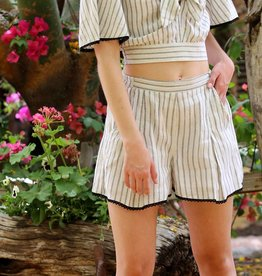 Angie Stripe Short With Lace Hem (25P99)