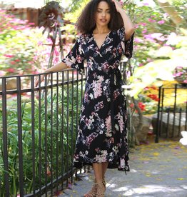 Angie Floral Wrap Dress (F4913)