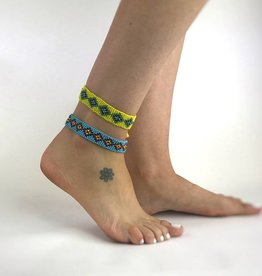 Angie Yellow And Green Bead Anklet (JA002)