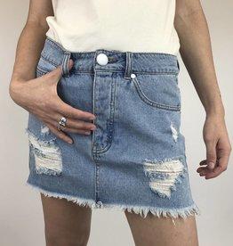 Signature 8 Distressed Cut Off Mini Skirt (S7101)