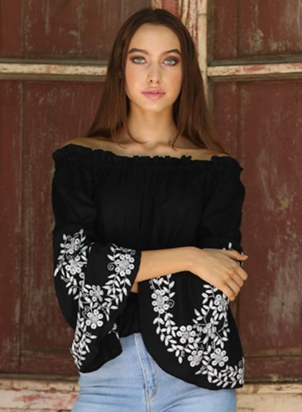 Angie Embroidered Long Sleeve Top (P2Z73)