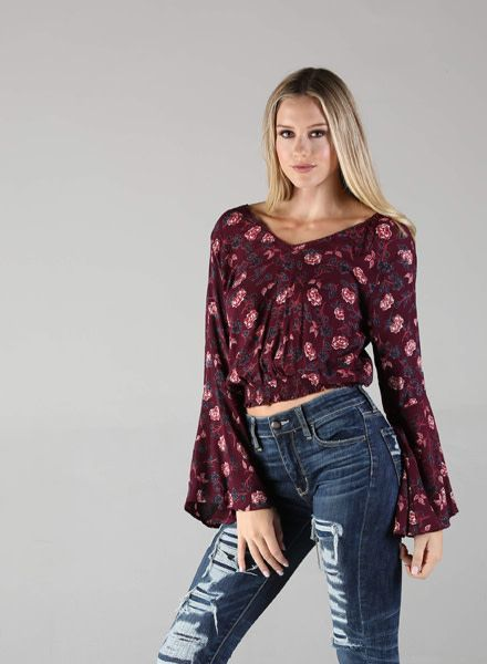 Angie Floral Long Sleeve Top Smocked Waist (B2V13)