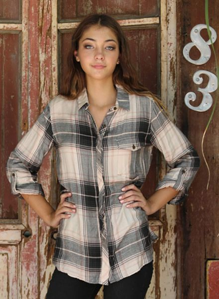 Angie Plaid Button Front Tunic With Pockets (X2J99)