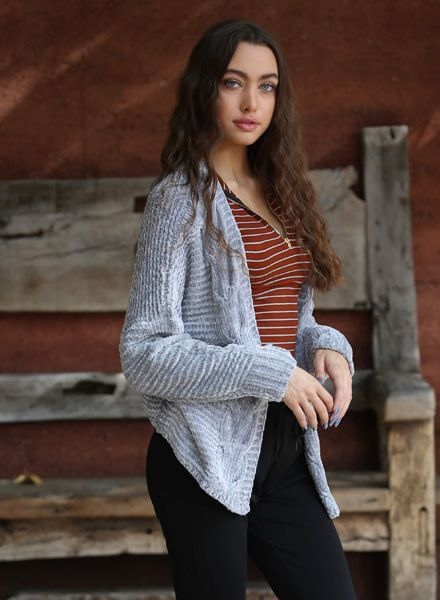 Angie Chenille Cable Knit Cardigan (XHC65)