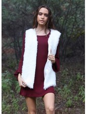 Cream Matted Fur Vest (SJ895)