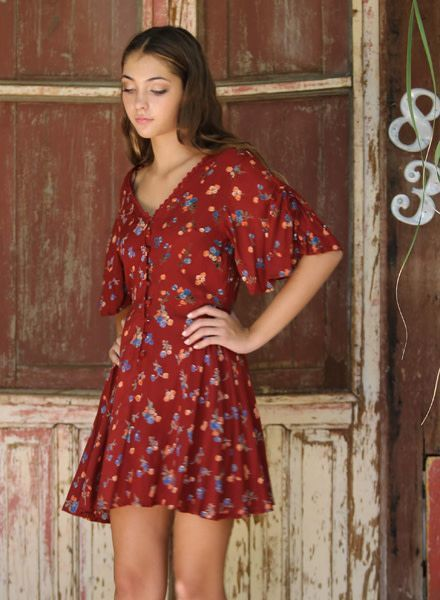 Angie Button Down Short Sleeve Dress (F4939)