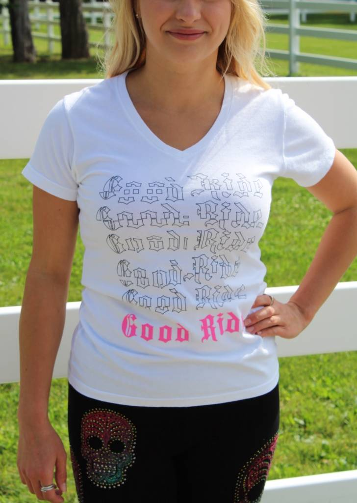 Women's V Neck Deconstructed Good Ride T - Shirt