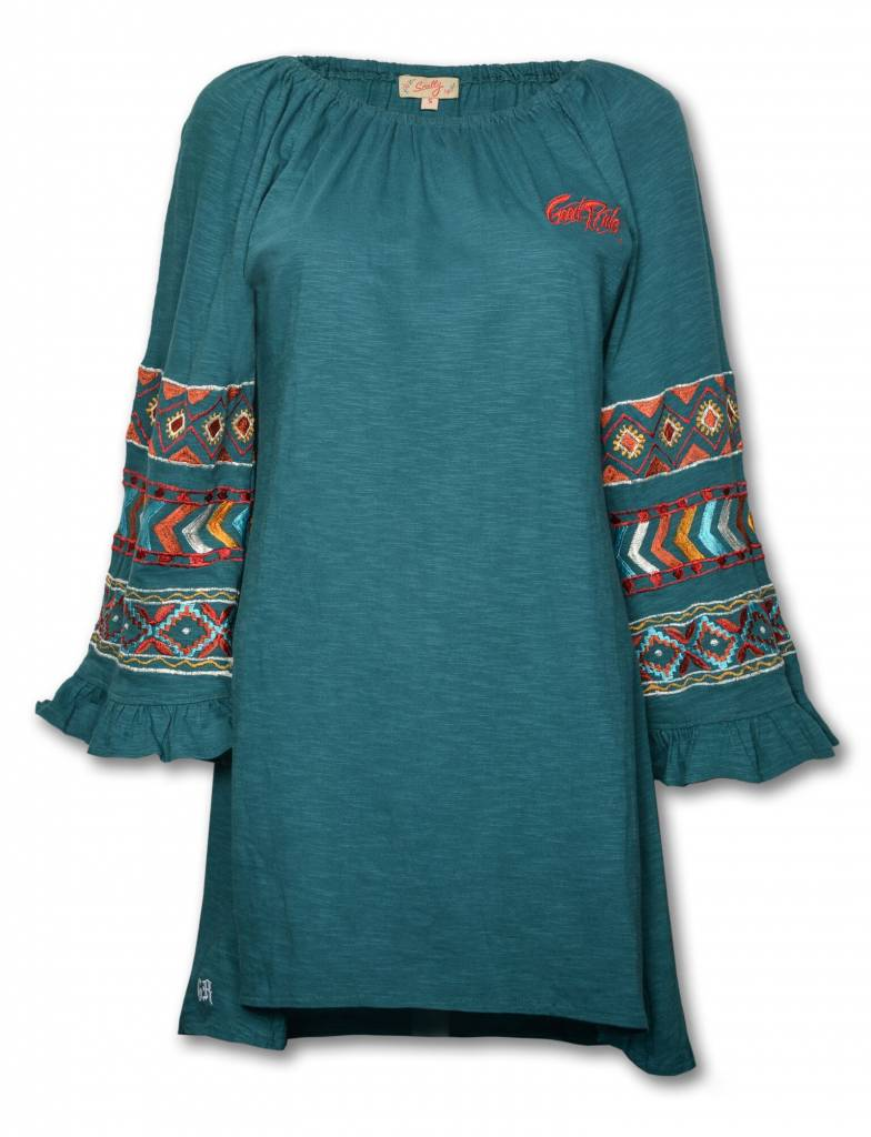 Women's Long Sleeves Teal Aztec Tunic