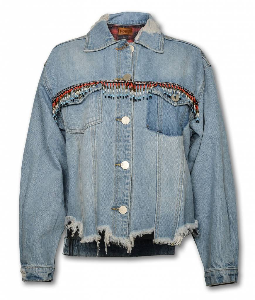 WOMEN'S DENIM  JACKET WITH BEADS
