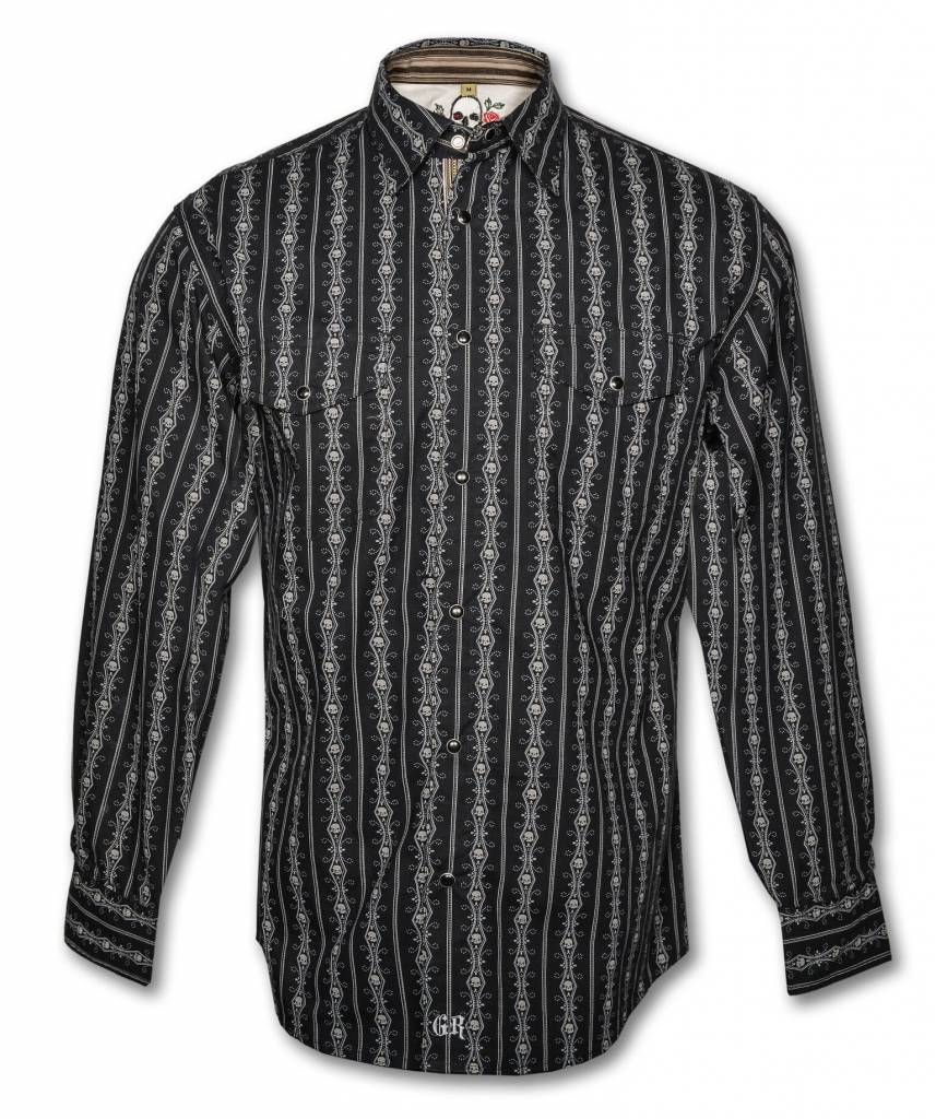 Men's Black Long Sleeve Skull Dress Shirt