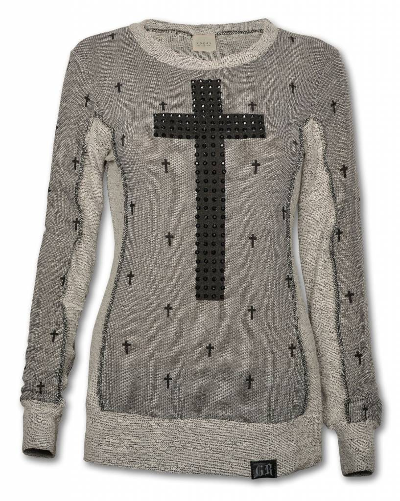 Gray and Black Women's Cross Sweater
