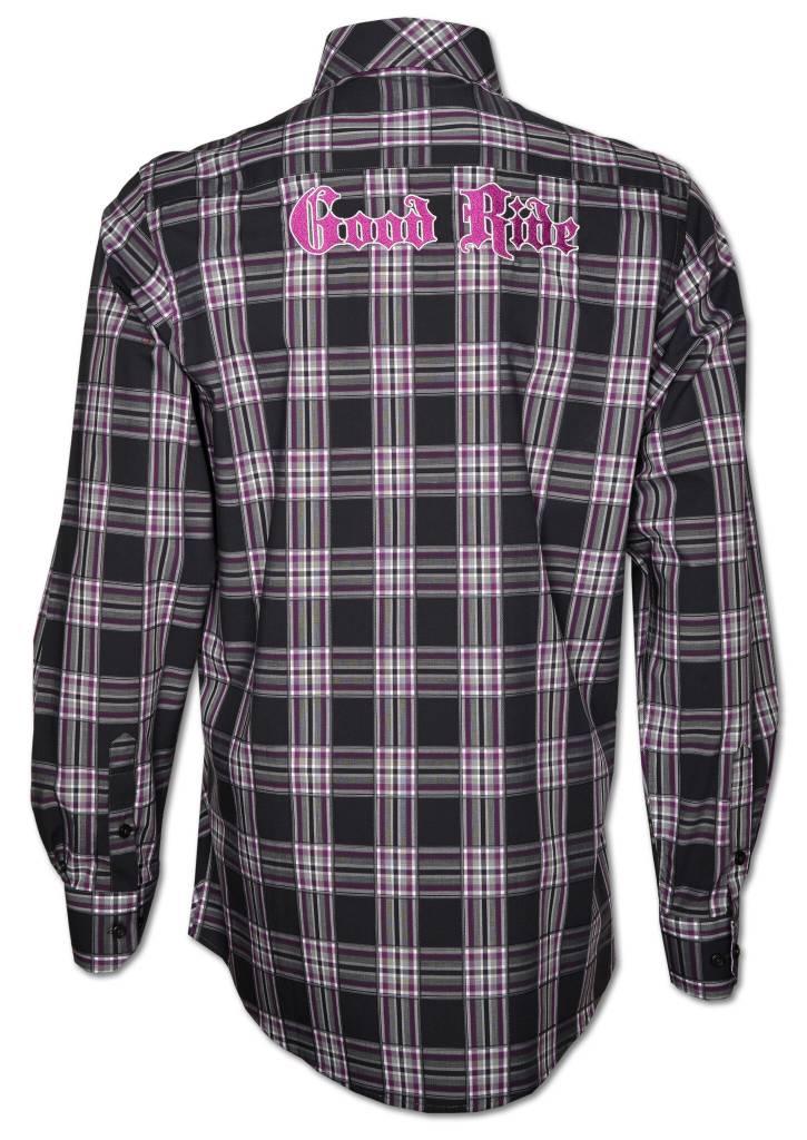 Black and Purple Plaid Men's Show Shirt
