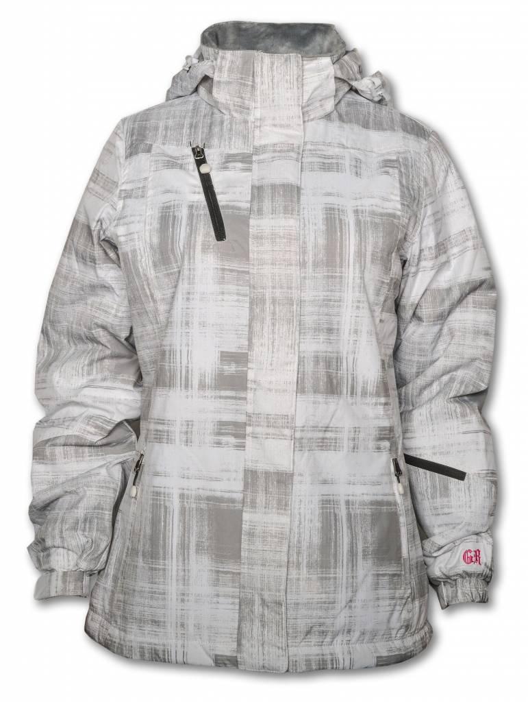 Women's Insulated Brushstroke Print White and Gray Jacket