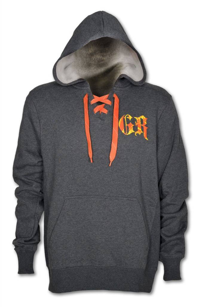"Men's Gray ""hockey-Style"" Sweetshirt with Hood and Orange Lace-up"
