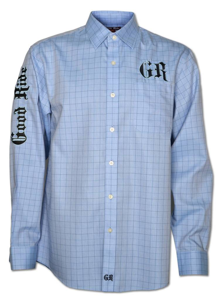 LIGHT BLUE WINDOWPANE MEN'S SHOW SHIRT