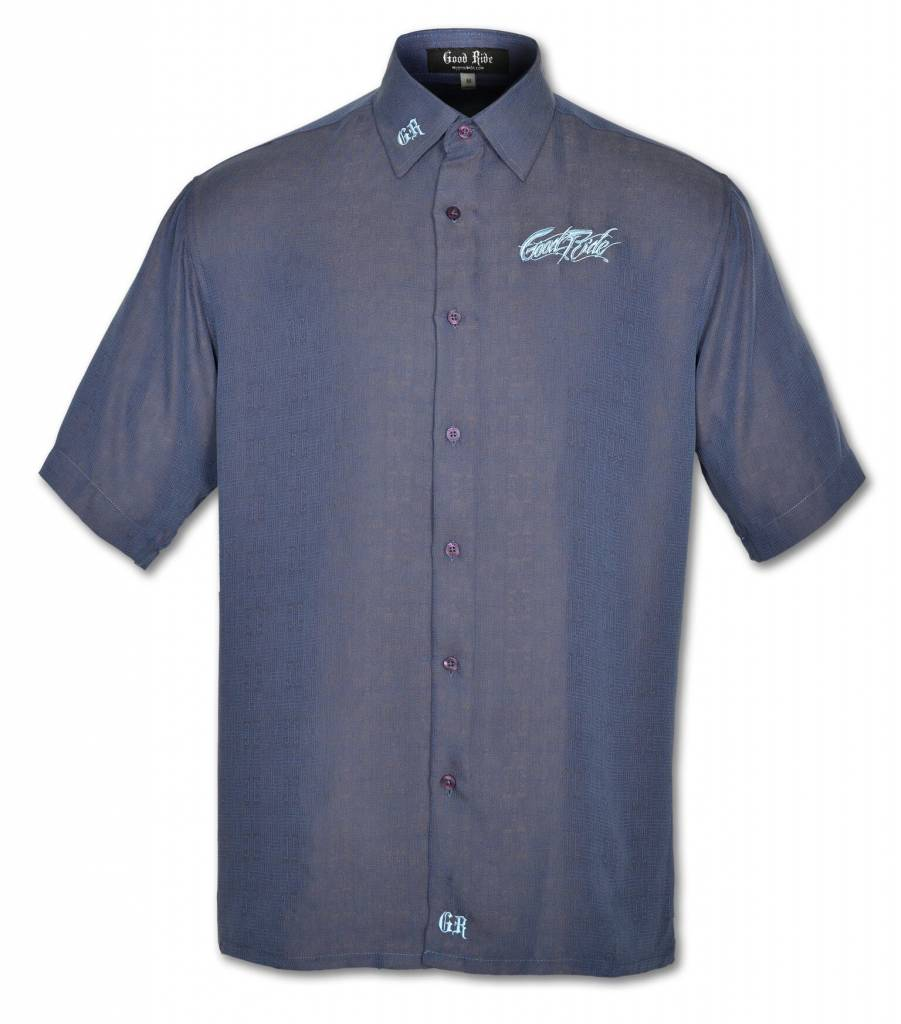 Men's Blue Button Down Short Sleeve Shirt