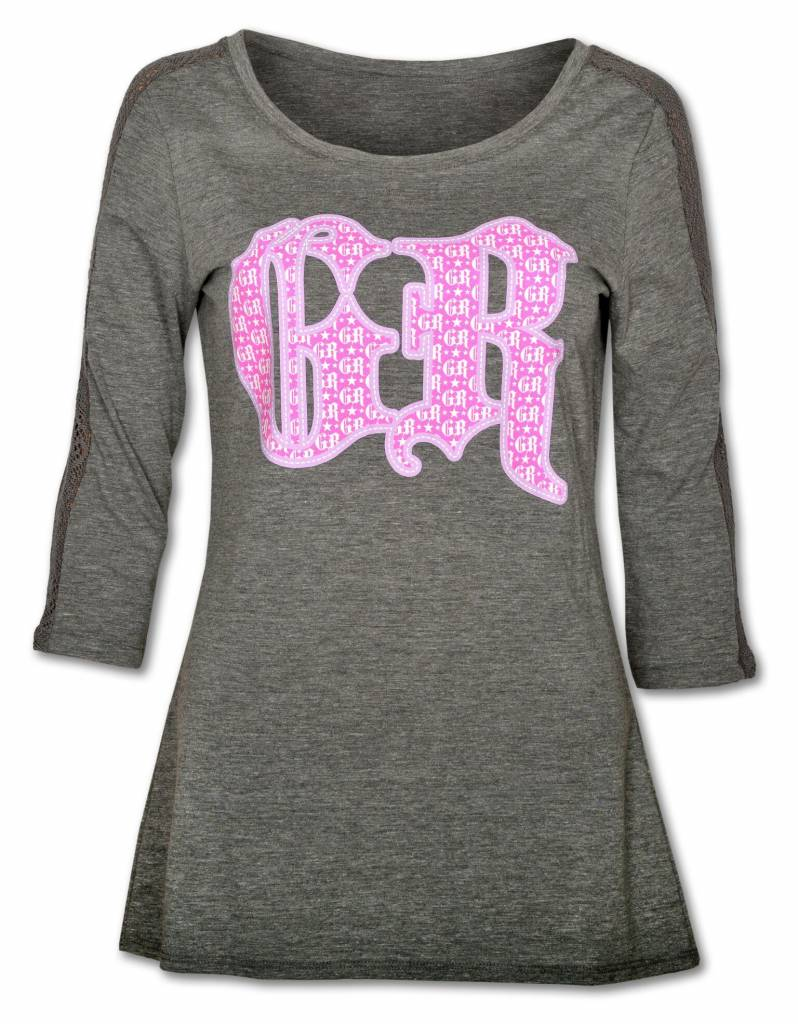 Women's Heather Gray 3/4 Sleeve Tee with Lace