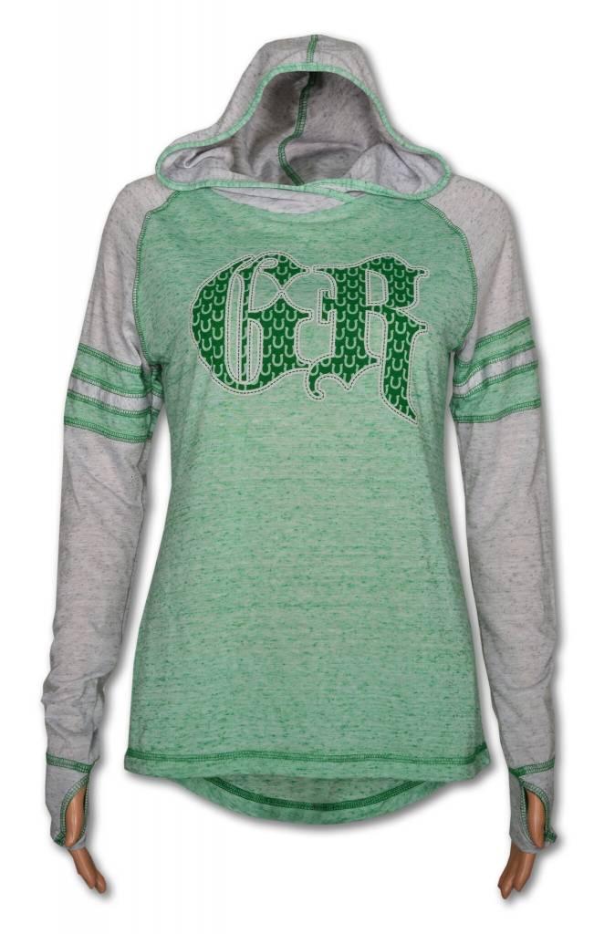 Women's GR Green Long Sleeve Tee with Hood