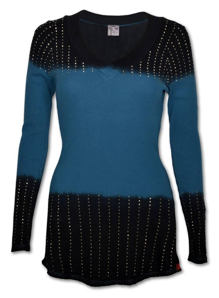 Blue and Black Women's Crystaled V-Neck Sweater