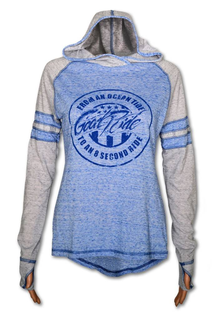 Women's Blue and Gray Ocean Tide Lond Sleeve Tee with Hood