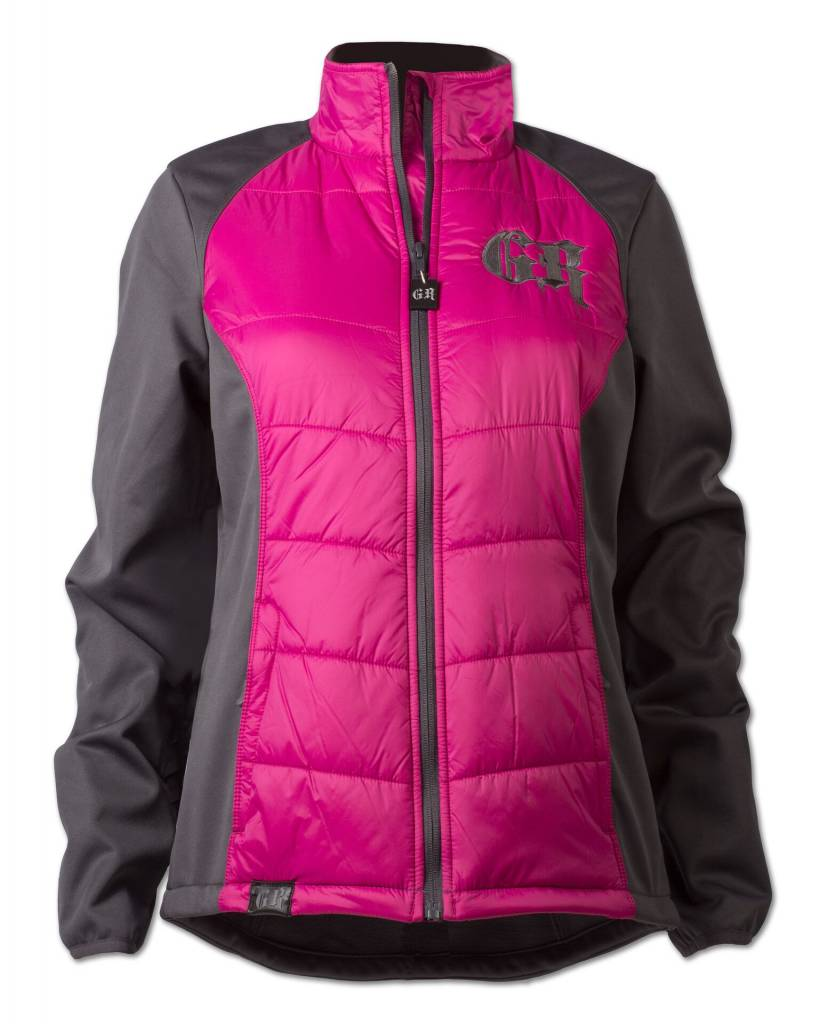 Gray and Pink Hybrid Softshell Jacket